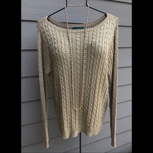 Shiny Gold Cable Sweater by Ralph Lauren Size XL